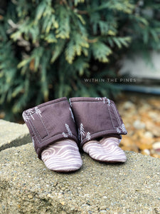 Brown Pine Tree Wrap Around Boots