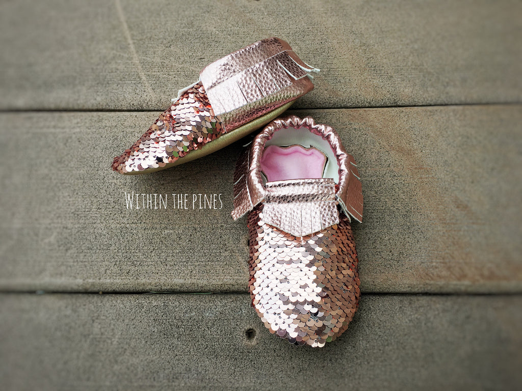 Rose Gold Sequin Moccasins