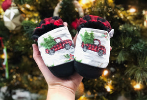 Red Truck with Buffalo Plaid Heel