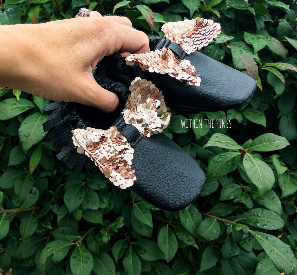 Black Vegan Leather Moccs with Rose Gold Bow