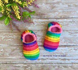 Rainbow Baby Moccasins