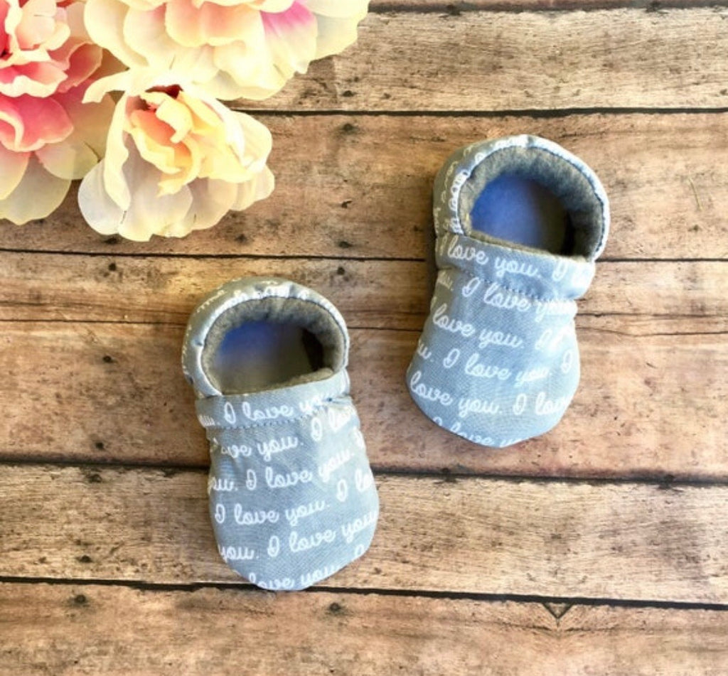 """I love you"" Grey Moccasins"