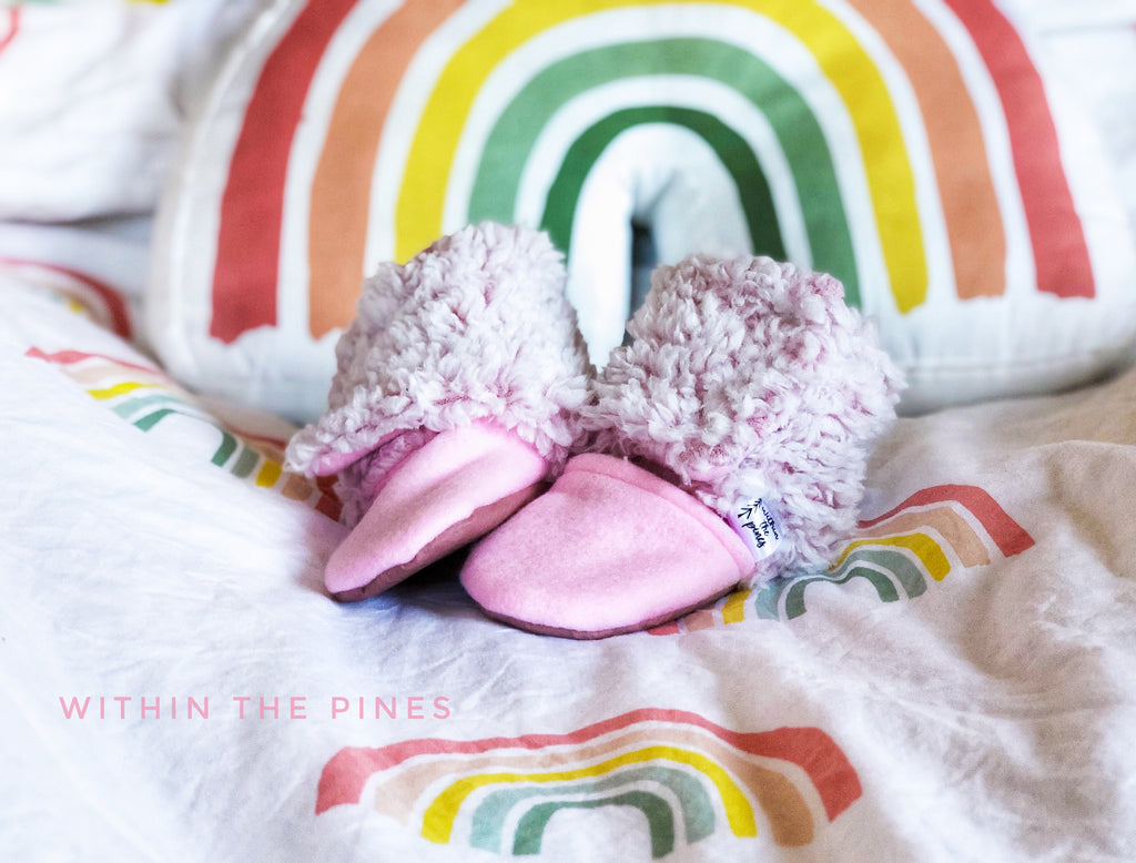 Pink Sherpa Wrap Around Boots