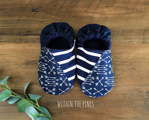 Stripe & Arrow Navy Moccs