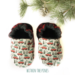 Mini Holiday Cars with Buffalo Plaid Heel