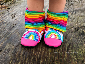 Watercolor Rainbow Stripe Wrap Around Boots