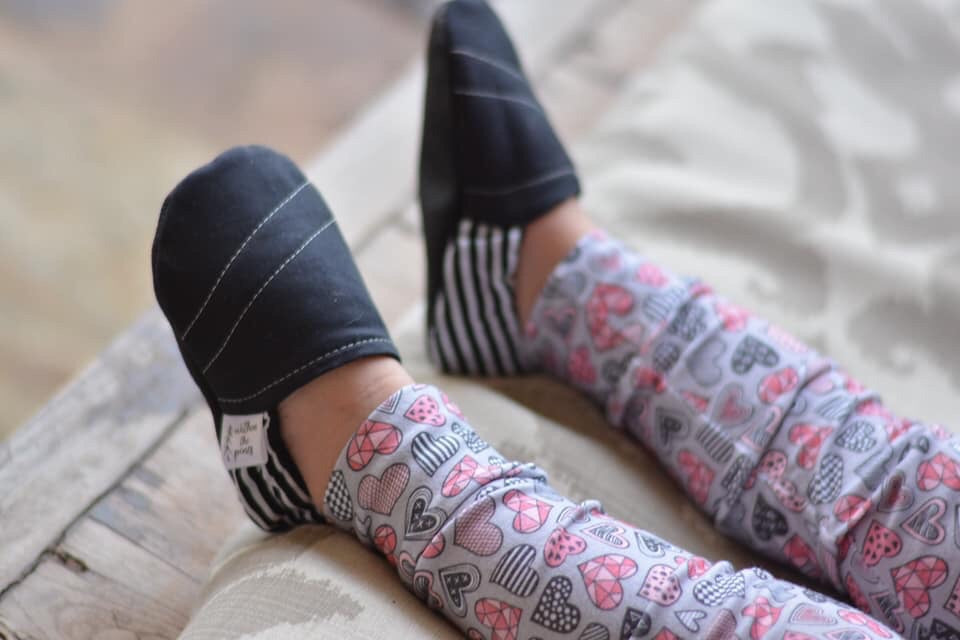 Black Moccs with Stripe Heel