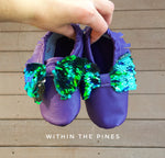 Mermaid Inspired Sequin Bow Moccasins