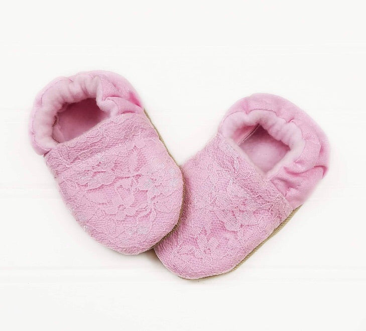 Pink Lace Moccasins