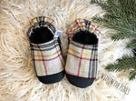 Black & Oatmeal Plaid Glitter Moccs