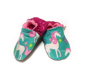 Unicorn Moccs With Pink Sequin Heel