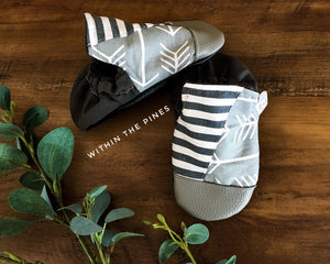 Stripe & Arrow Grey Hightop Moccs // Toe Guard Not Included