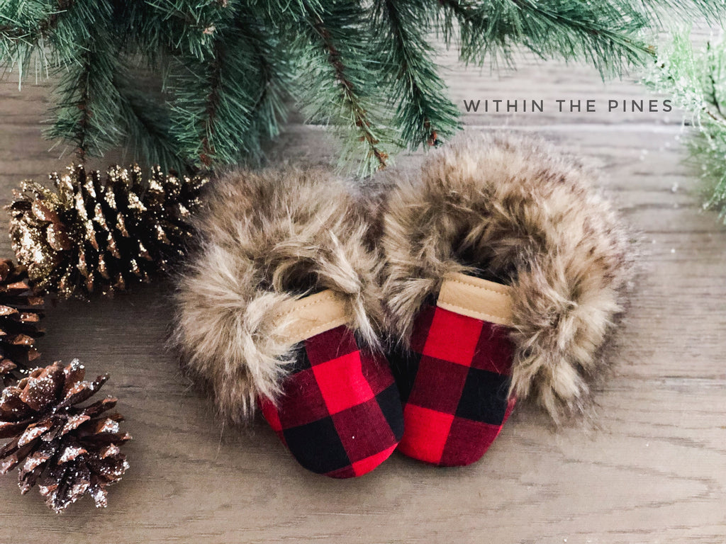 Buffalo Plaid Faux Fur Moccasins