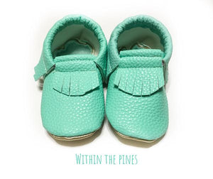 Mint Green Leather Fringe Moccasins