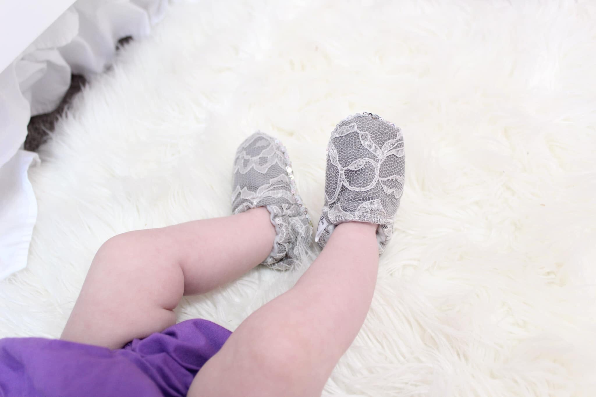 Grey Lace Moccasins