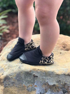 Black High Top with Leopard Heel Moccasins
