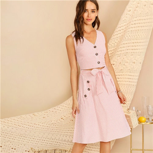 c0691d23c6 SHEIN Boho Pink V-neck Button Front Striped Slim Fitted Crop Top and Belted  Midi