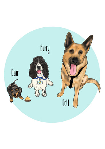 Full colour Colour Pet Illustrations (up to 3 pets)