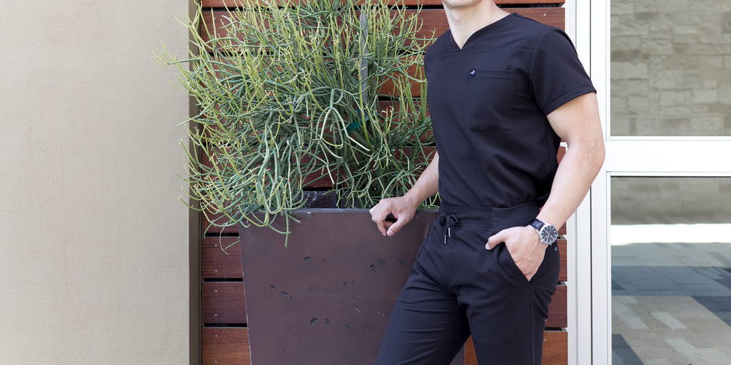 Black Finch Scrubs Rogue pants men's fitted scrubs bottoms in black with welt cargo pocket.