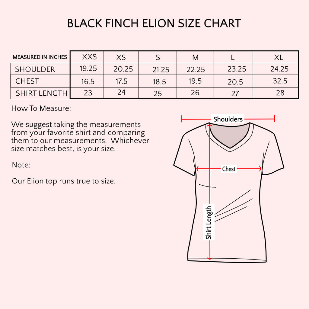 Size Chart Black Finch Scrubs Elion Top