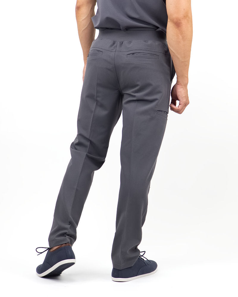 Black Finch Scrubs Rogue Pants - Slim fit Men's scrub pants in gray, back view.