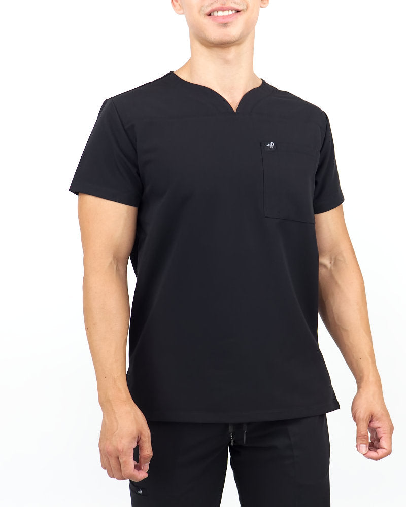 Black Finch Streamline Top.  Slim fit V-neck Men's scrub top in black, front view