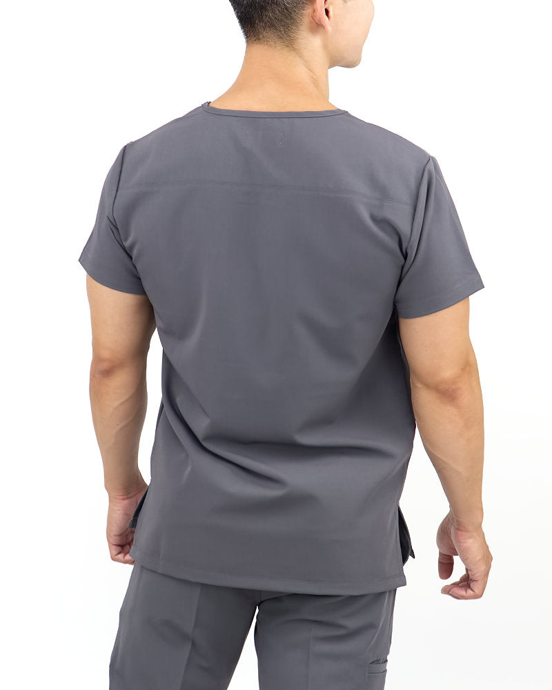 Black Finch Streamline Top.  Slim fit V-neck Men's scrub top in gray, back view.