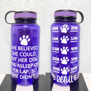Purple She Believed, But Her Dog Was Sleeping Water Bottle