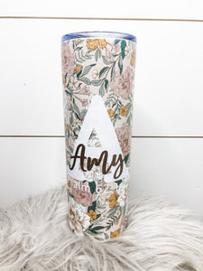 Floral Personalized Skinny Tumbler