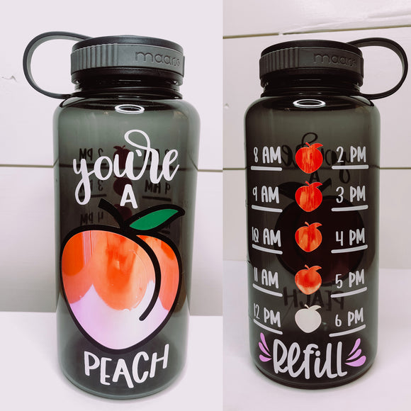 You're A Peach Water Tracker Bottle
