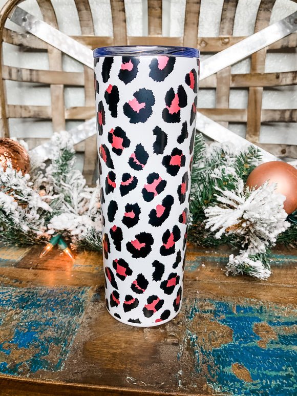 White Leopard Personalized Skinny Tumbler