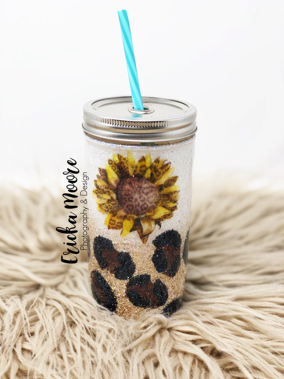 Leopard Sunflower | Mason Jar