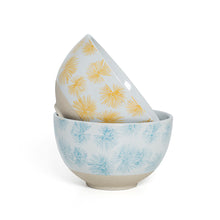 Load image into Gallery viewer, Small Blue Yellow Palm Print Bowls