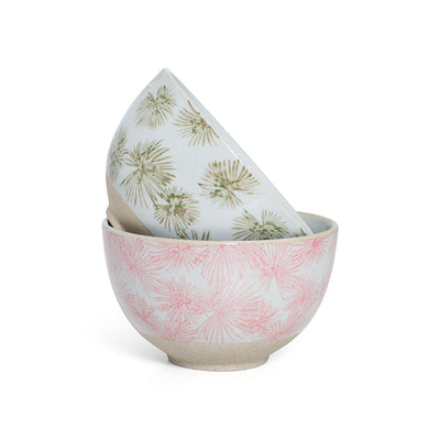 Small Pink Green Palm Print Bowls