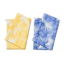 Load image into Gallery viewer, Tea Towel Set - Blue/Yellow Palm