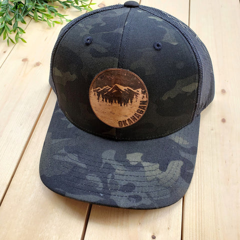 Okanagan Cork Patch Camo Trucker Hat (Black Multicam)
