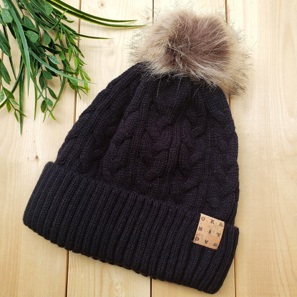 Okanagan Cable Knit Toque with Faux Fur Pom and Cork Patch