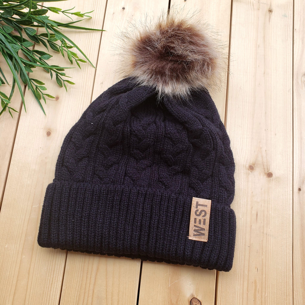 West Cable Knit Toque with Faux Fur Pom and Cork Patch
