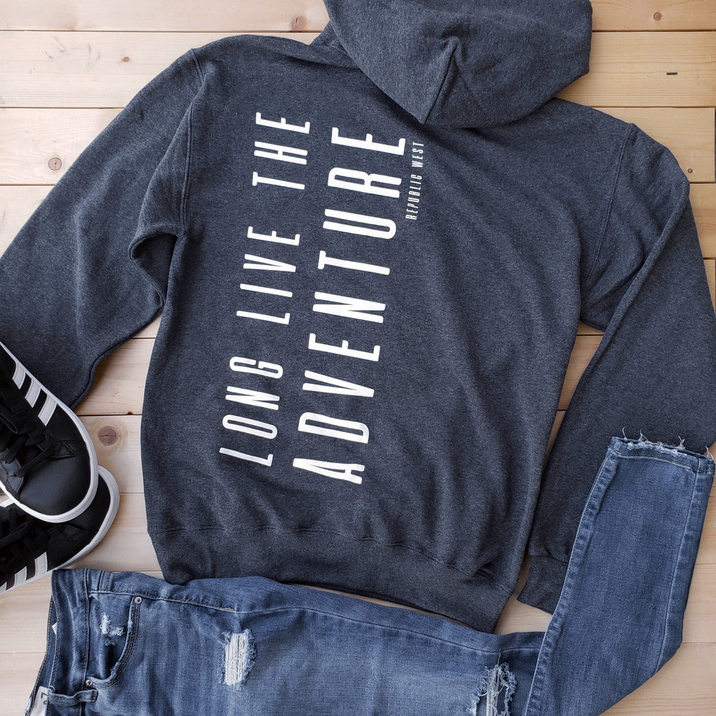 Long Live The Adventure Hoodie - Charcoal Grey