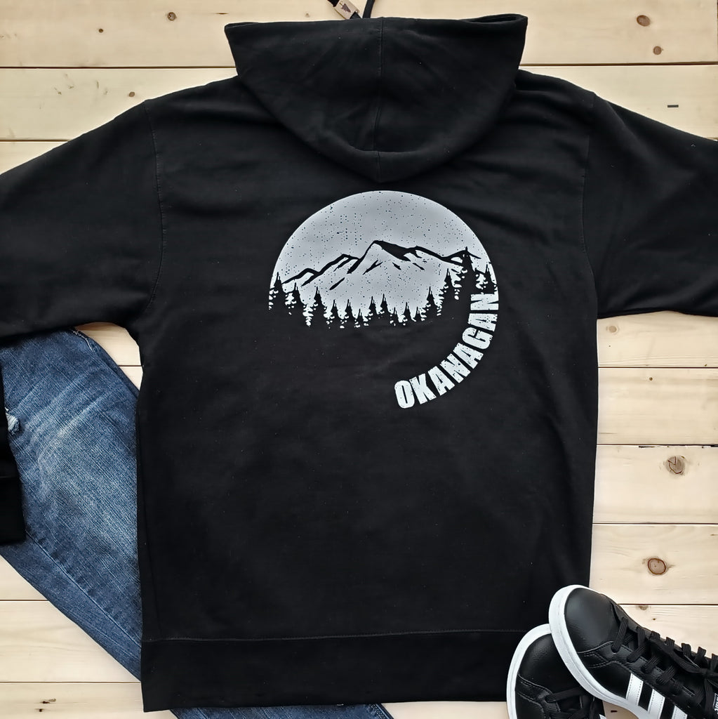 Okanagan Moon Zip Up Hoodie - Black
