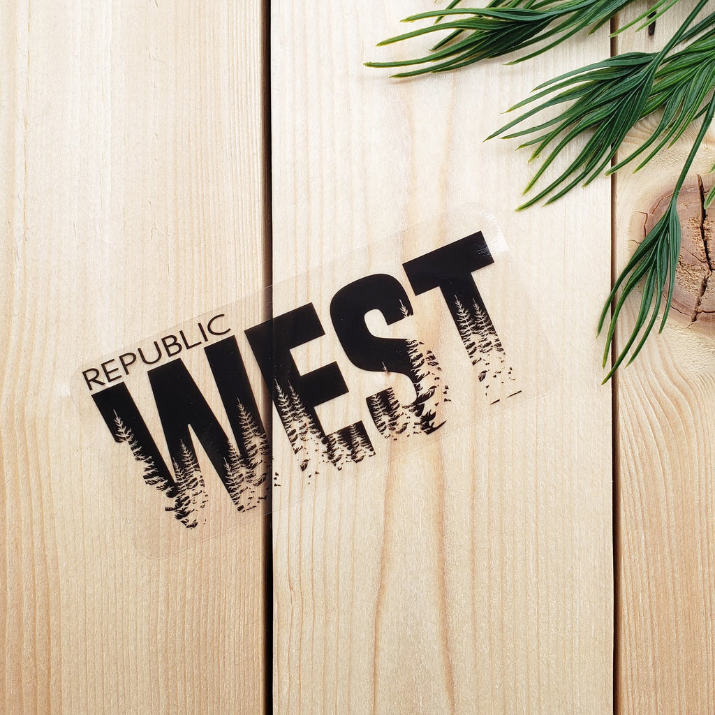 West Trees Transparent Sticker - Black - Republic West