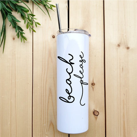 Beach Please Skinny Tumbler with Straw - Republic West