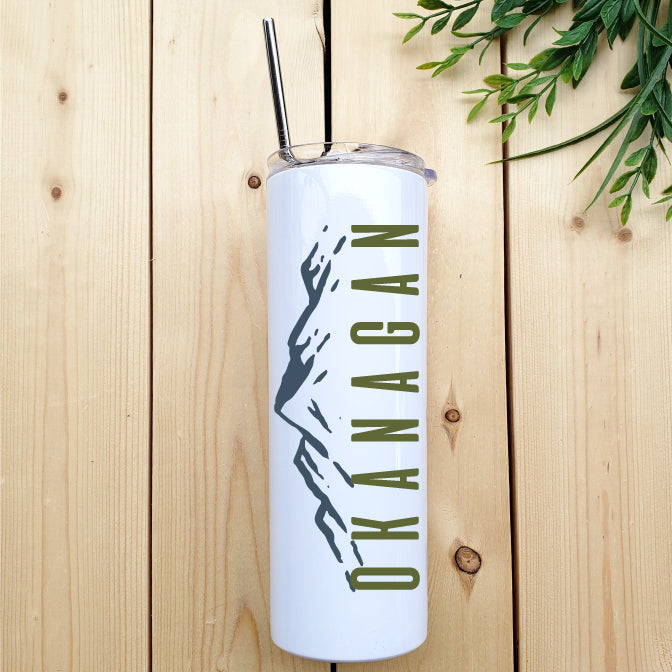 Okanagan Mountains Skinny Tumbler with Straw - Republic West