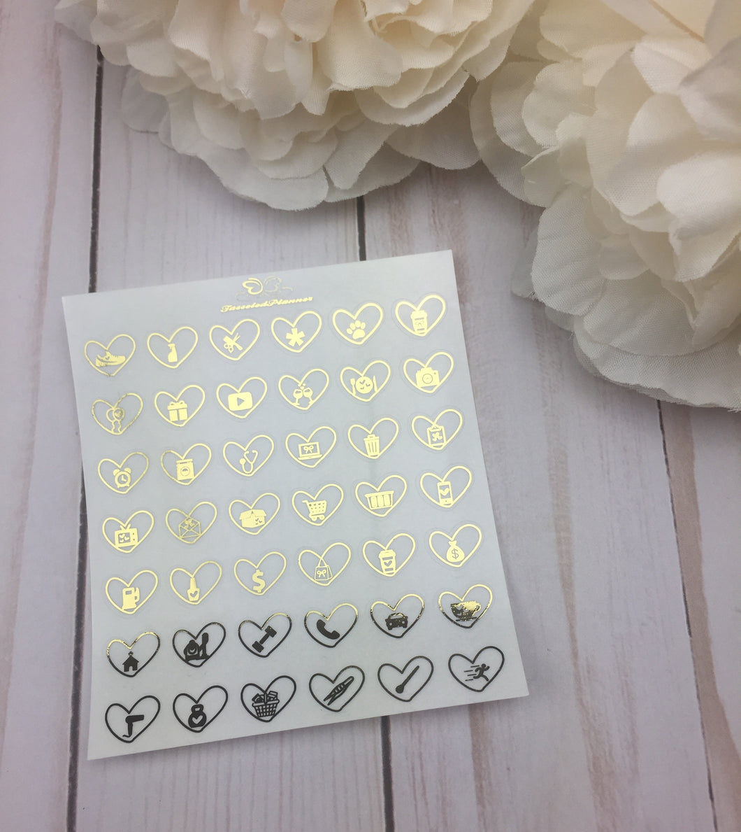 Foil Clear Mini Heart  Icons Planner Stickers