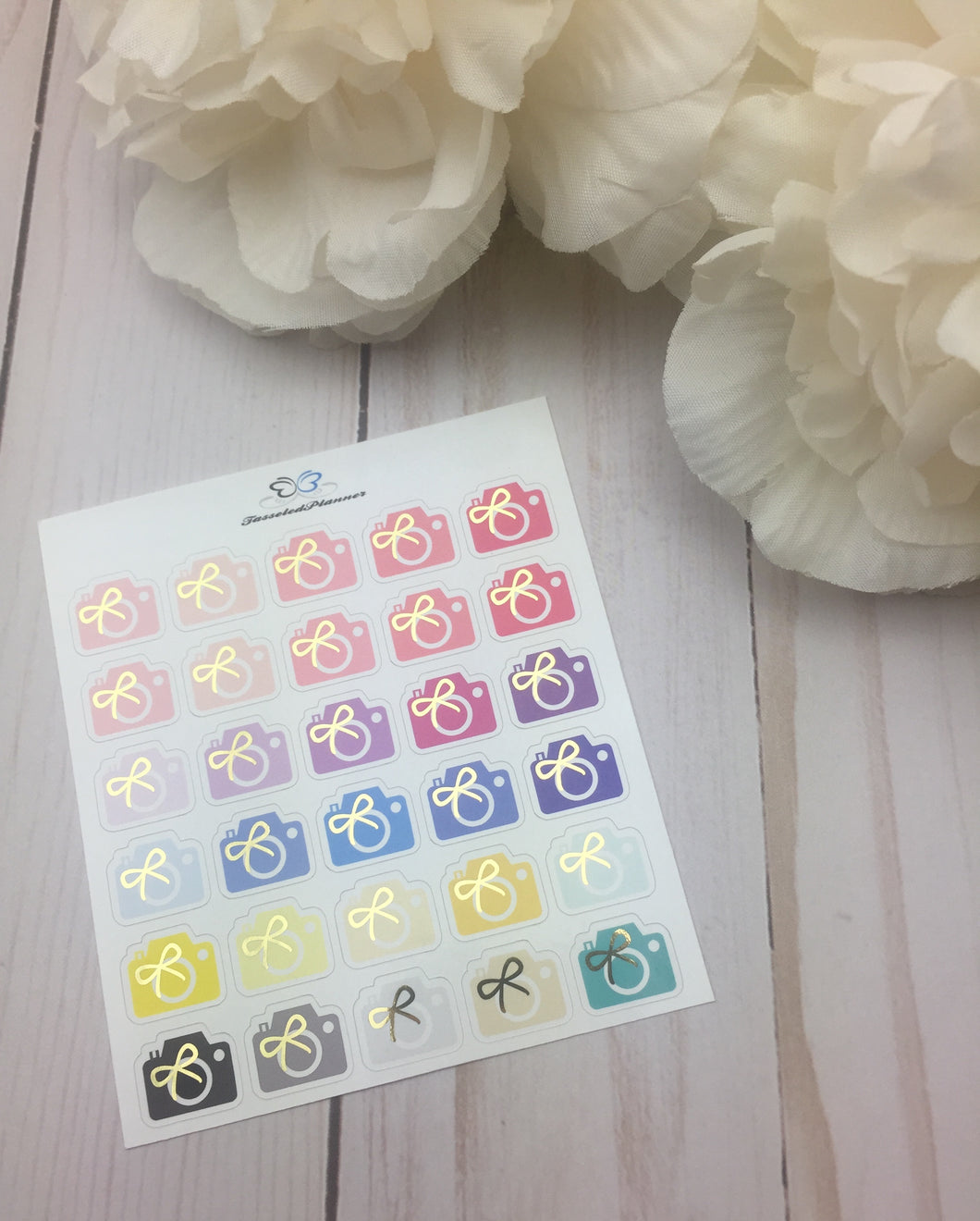 Foil Camera With Bows Planner Stickers | Foiled Planner Stickers | Planner Stickers