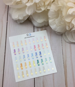 Foil Curling Iron Icons Planner Stickers