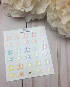 Foil Running  Icons Planner Stickers/ Foil Treadmill Icons Planner Stickers