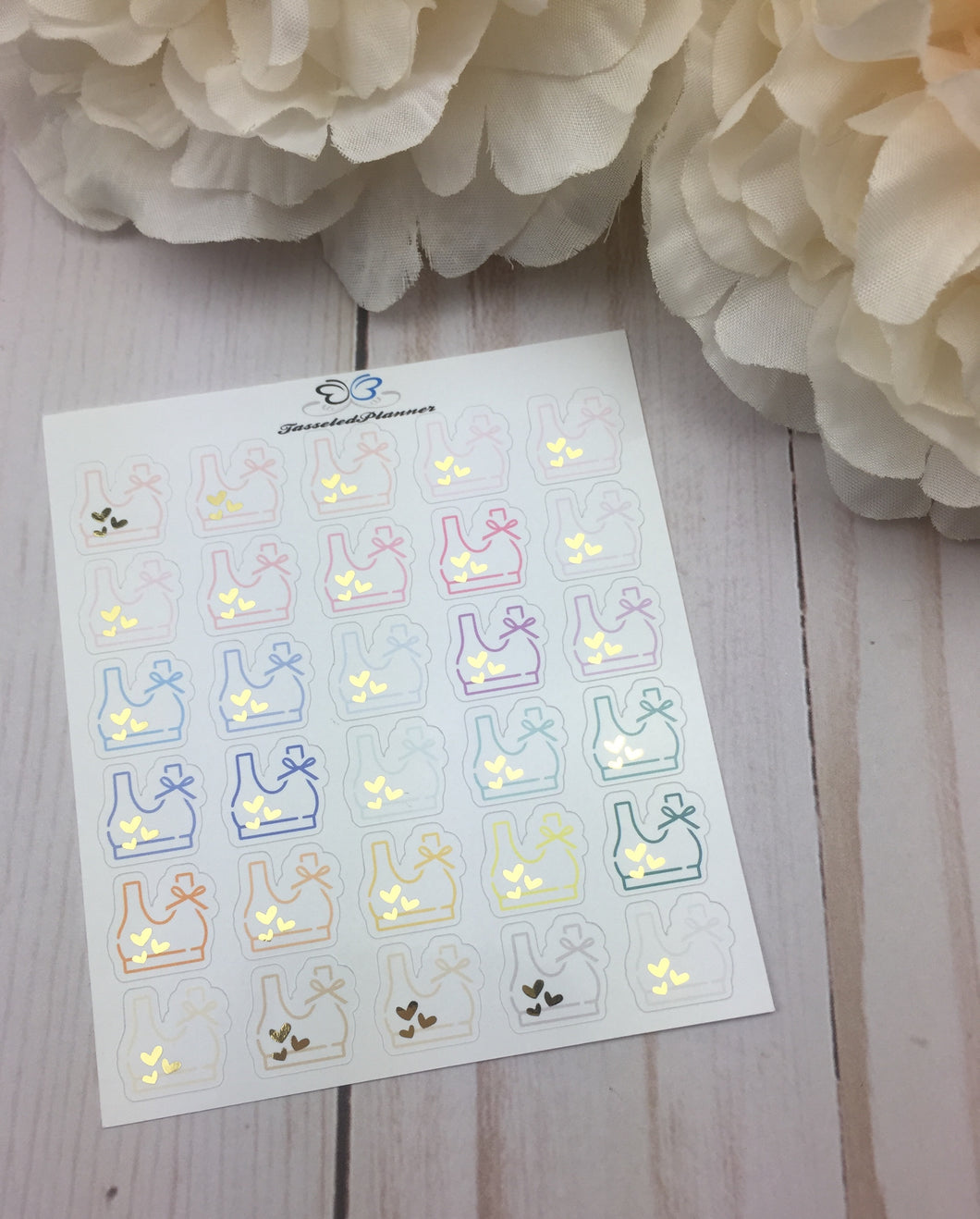 Foil Sports Bra Icons Planner Stickers/ Foil Workout  Icons Planner Stickers