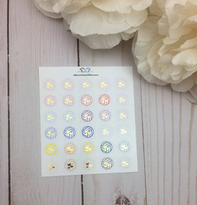 Foiled Volleyball Icons Planner Stickers | Foil Planner Stickers | Planner Stickers