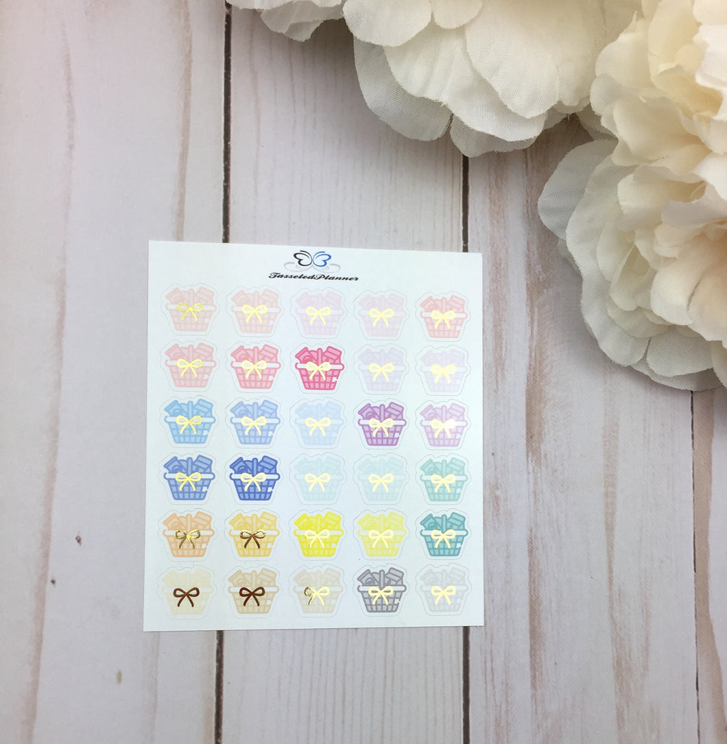 Foil Shopping Basket Planner Stickers | Planner Stickers